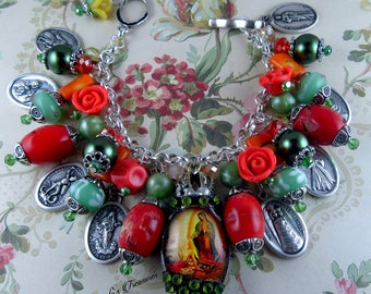Catholic Virgin Mary Our Lady of Guadalupe with St. Juan Diego Religious Medals Charm Bracelet, Virgen de Guadalupe