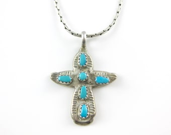 Vintage C Iule Sterling Silver Turquoise Cross Pendant with 20 Inch Sterling Silver Necklace