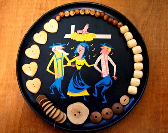 Wooden Buttons, Wood Buttons, Button lot, Vintage wood Buttons, Heart buttons