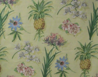 Tropical Fabric 3.66yd Indoor Outdoor Home Decor Fabric 4 Pillow Covers Totes Boca Botanical Waverly Floral Pineapple Yellow Green Sun Shade