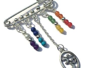 Chakra Gemstone Fashion Pin, Wire Wrapped, Gift Idea, OM Charm