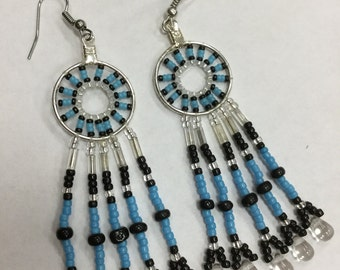 Hoop Dangle Earrings, blue/black