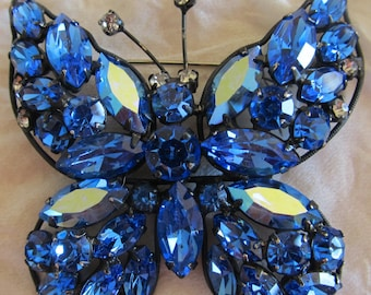 Exquisite Vintage LaRoco Blue AB Rhinestone Butterfly Pin/Brooch Designer