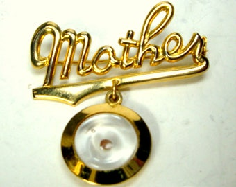 Vintage Mothers Day Pin, Gold Mother W Mustard Seed Charm Dangle Brooch, 1950s, Used But Adorable Kitsch