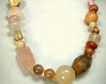 Pink Agate and Rose Quartz Crystal Bead Necklace, Knotted Soft Tan Peach Pink n Caramel Colored Stone Beads