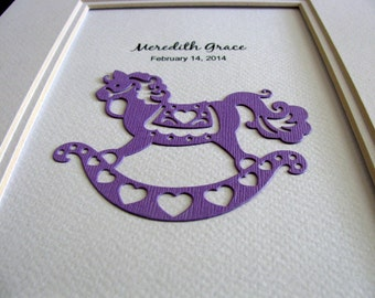 5X7 Rocking Horse Art Personalized with Name & Date of Birth / Purple as Shown or YOUR Choice of Colour / Keepsake Art / Made to Order
