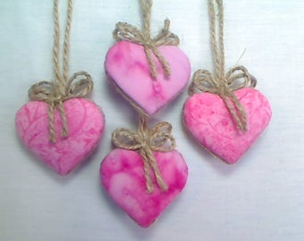 Miniature Pink Heart Ornaments | Holidays | Wedding Bridal | Party Favors | Valentine's Day | Handmade Ornament |Tree Ornament | Set/4 |  #1