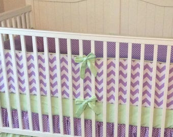 Baby Girl Crib Bedding Set Purple and Mint Green Modern Ruffled Ready to Ship