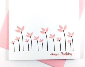 Pretty Birthday Card, Floral Stationery, Greeting Card for Mom, Happy Birthday Card For Her, Pink Flower Card, Single Celebration Card