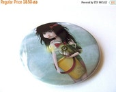 "Cyber Monday sale Pocket Mirror ""My Fishy Friend II"" 2 1/4"" Round Mirror Print of Original Artwork - Lowbrow Artwork Little Girl with Angler"