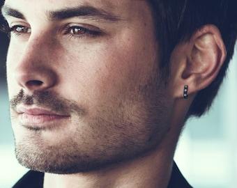 Guy's diamond hoop earrings, rocker hoop earrings, black hoop earrings, steel hoop earrings, diamond cz earring, huggie hoop earrings, 132