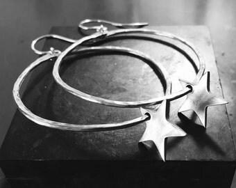 Star Hoop Earrings- Handcrafted Sterling Silver in Custom Size