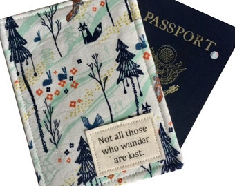 Passport Holder, Passport Case, luggage tag set with classic Tolkien quote, passport wallet with fox in the woods