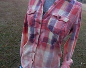 Distressed plaid flannel shirt - bleached dipped splattered - vintage worn look - Size M (female) (S37)