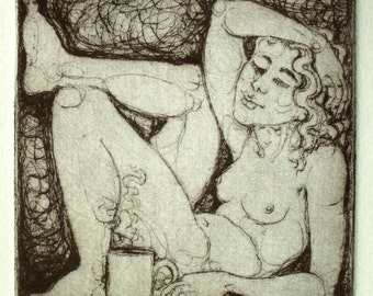 "Drypoint print - ""Coffee Girl II"" - framed miniature original art, handmade print. Female nude drawing with a cup of coffee. Nancy Farmer"