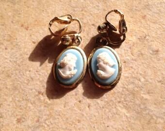Blue Cameo Drop Earrings
