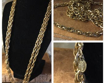 Extra Long Signed Vendome Gold Tone Prince of Wales Chain Necklace 1970's 1980's Elegant Single Double Triple Strand