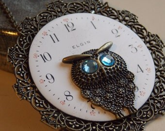 Steampunk Owl Necklace Filigree Brass Jewelry Vintage Watch Face