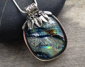 Hand Made OOAK Fine Silver and Dichroic Glass Flower Necklace (Item 2633)