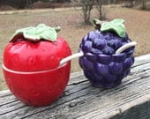 Vintage Strawberry Storage and Grape Storage Jars--Jam Jelly Serving Bowls--Made in Japan--Cute Kitschy Kitchenware--Hostess Gift--Ceramic