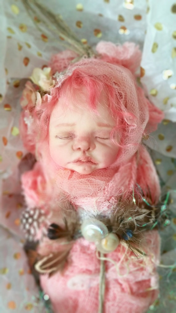 One of a kind Art Doll Pink Fairy/Pixie Baby with peaches and cream skin and dark pink hair OOAK
