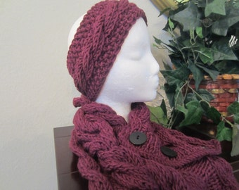 Hand Knit Eggplant Cable Headband With Matching Scarf  Cowl