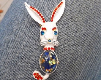 1960s jelly belly bunny brooch - charity for animals