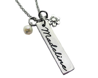 Name and Flower Charm Personalized Pewter Necklace