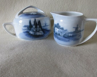 Lovely Rosenthal Old Dutch Sugar and Creamer, Delft Blue