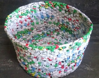 Handwoven Basket Made With Wood Pellet Plastic Bags