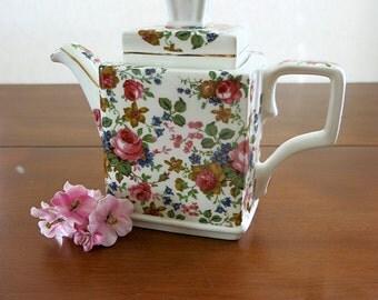 English Chintz Style Teapot Rectangle Shape Vintage Windsor Gold Trim