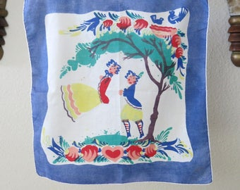 Peter Hunt Handkerchief 1950s Vintage Cotton Rolled Edge Young Lovers on Swing