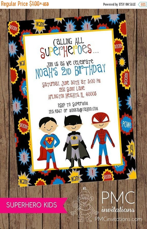 SALE Superboys Birthday Invitations ... 1.00 each with envelope
