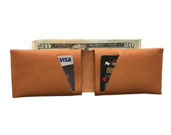 Caramel Leather Slit Wallet Coin Money Purse For Men & Women - Accessories Collection