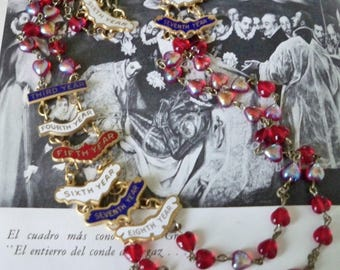 Assemblage Necklace - Red Rosary Necklace chain and Attendance Award Yearly Medals - Vintage - Reclaimed One of a Kind - bycat