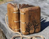 Rustic wood journal two Trees of Life wood small wedding guest book bridal shower engagement anniversary
