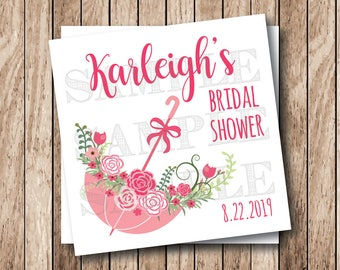 Printable Bridal Shower Tags, Printable Wedding Shower Tags, Umbrella of Flowers Tags