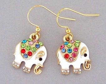 Cute small elephant earrings, white elephant earrings, multicolored rhinestones, love elephants, baby elephants, enamel rhinestone elephant