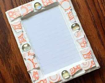 Orange and White Gem Mosaic Picture Frame (holds a 4 x 6 photograph)