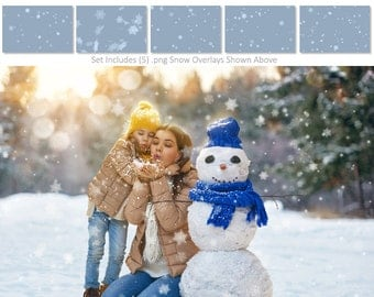 Photography Overlays | SNOWFLAKE OVERLAYS - (5) Expertly Designed Snowflake Flat .PNG Files, Digital Overlays.