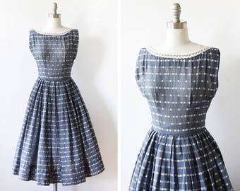 50s dress, 1950s gray and white striped dress, vintage fit and flare cotton dress, xxs
