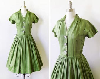 50s green dress, 1950s shirt dress, vintage polished cotton day dress, small s