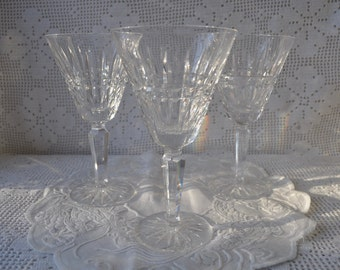 Four Vintage Glenmore Waterford Water Glasses/Irish Crystal Cut Glass Bowl, Stem and Foot/Bell Shape Large Wine Glass