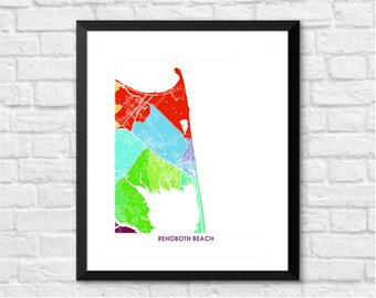 Rehoboth Beach Map Print.  Choose the Colors and Size.  Bright Delaware Wall Art.  Show your DE Local Love.