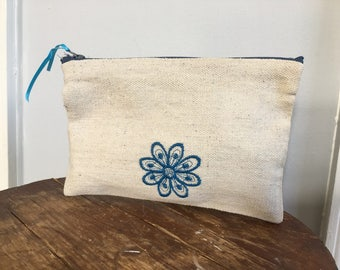 Small Canvas Zipped Pouch with Embroidered Flower Pen/Pencil | Makeup Case | Small Bag | Zipped Bag | Spring/Summer Bag