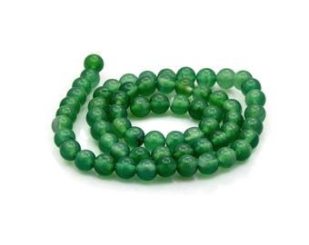 Natural Green Onyx Agate Beads Strands 6mm Round
