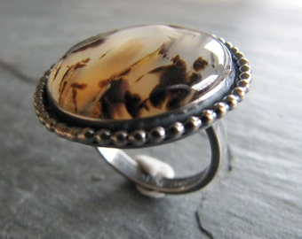 Spectacular Montana Agate Ring in Sterling Silver