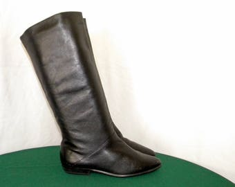 Sz 7.5m Vintage Tall Black Leather Women flat pirate Slouch boots.