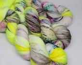 Hand Dyed Speckled Sock Yarn - SW Sock 80/20 - Superwash Merino Nylon - 400 yards  - Nervous Breakdown