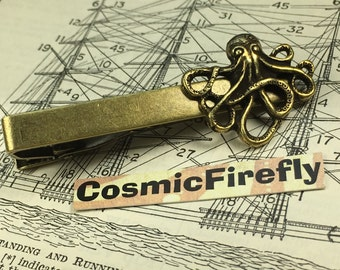 Brass Octopus Tie Bar Antiqued Brass Steampunk Tie Clip Men's Tie Clip Handcrafted Tie Bar Expertly Handcrafted By Cosmic Firefly